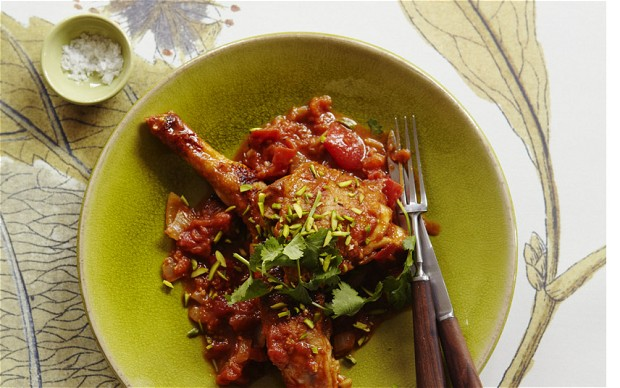 Chicken With Tomatoes And Saffron Honey Jam Recipe