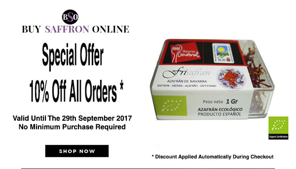 10% off ALL orders of saffron