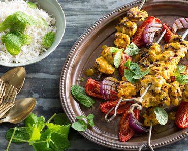 Chicken, lemon and saffron kebabs
